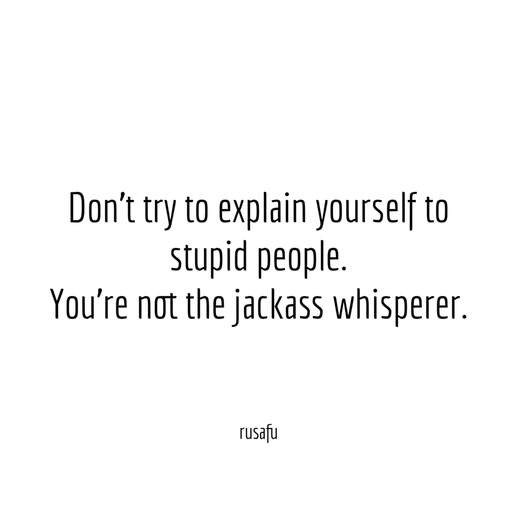Don't try to explain yourself to stupid people. You're not the jackass whisperer.