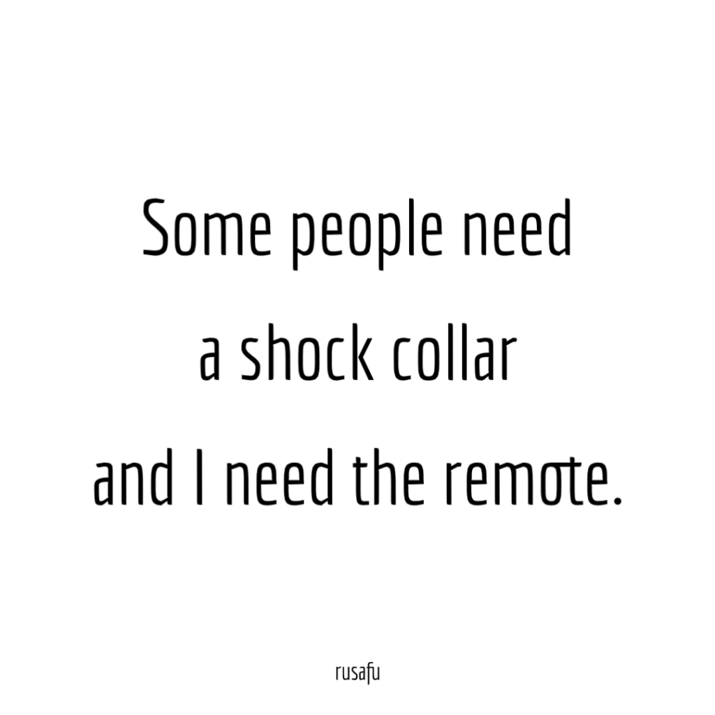 Some people need a shock collar and I need the remote.
