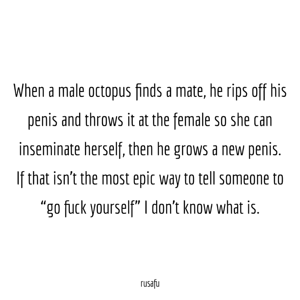 "When a male octopus finds a mate, he rips off his penis and throws it at the female so she can inseminate herself, then he grows a new penis. If that isn't the most epic way to tell someone to ""go fuck yourself"" I don't know what is."