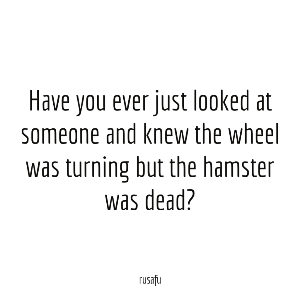 Have you ever just looked at someone and knew the wheel was turning but the hamster was dead?