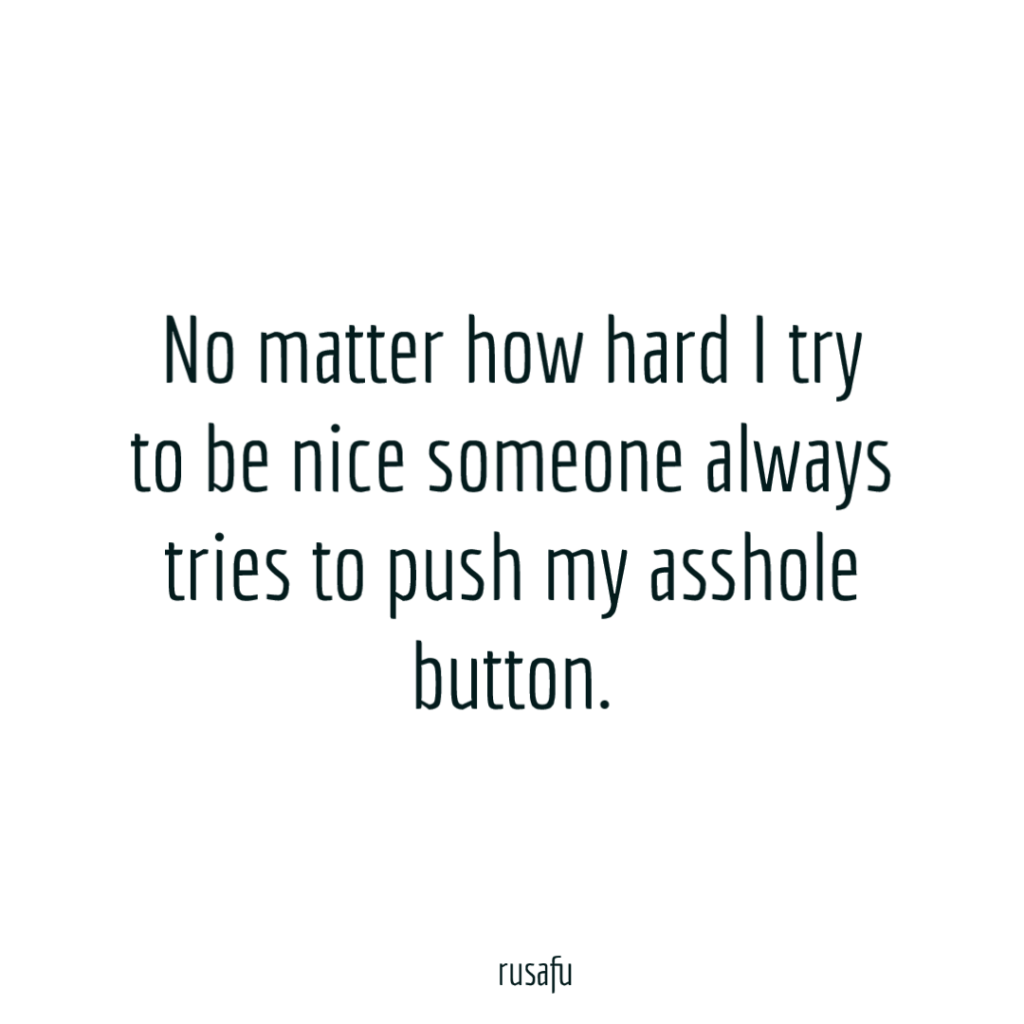 No matter how hard I try to be nice someone always tries to push my asshole button.