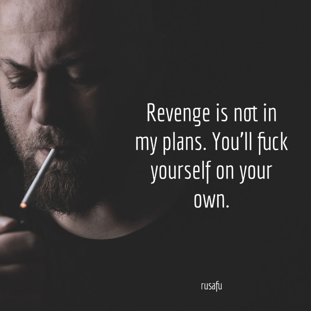 Revenge is not in my plans. You'll fuck yourself on your own